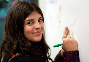 Nikki Yanofsky - Yanofsky autographing a wall at KPLU-FM in October 2010