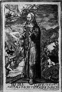 Niklaus von Flüe (1417-87), Eremit und Mystiker, Stich von 1592 von M. Martini.jpg