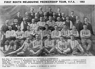 "North Melbourne Football Club - ""The Inaugurals"". The side that brought North premiership glory after 34 years of wait. To commemorate the achievement, club President G/M Prendergast presented the 26 players and head trainer with a gold medal at the club's general meeting that year."