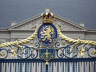 Noordeinde Palace - The Royal Coat of Arms on the Gate of the Noordeinde Palace in the Hague