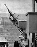 North American AJ Savage of VC-6 crashes aboard USS Yorktown (CVA-10), circa in 1954.jpg