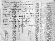 These papers were placed here 1 November 1920 by Rev. M. O'Flanagan & Sister Gerald (Carty) and Michael McDermot who was in charge of the electric engine of the Laundry, in order to save them from the raids of lloyd George's Auxiliaries & so-called police. M. O'Flannagáin.