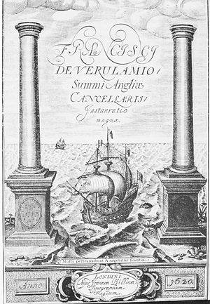 "Works by Francis Bacon - Frontispiece to Instauratio Magna (1620). The Latin inscription is from Daniel 12:4: ""Multi pertransibunt et augebitur scientia."" (""Many shall go to and fro and knowledge shall be increased."")"