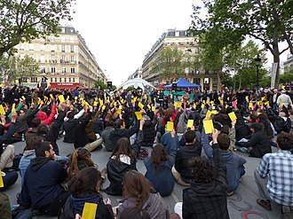 Direct democracy - Practicing direct democracy – voting on Nuit Debout, Place de la République, Paris