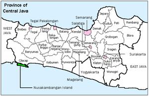 Nusa Kambangan - Image: Nusakambangan map