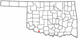 Location of Grandfield, Oklahoma