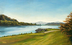 Portsmouth, Ohio - A painting of the confluence of the Ohio and Scioto Rivers, showing the dissected plateau terrain and the Carl D. Perkins Bridge. Artist Herb Roe