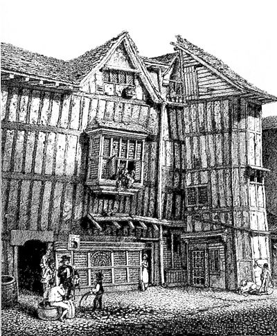 Old House in Grub Street, London, illustrating timber construction.jpg
