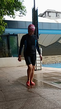 Old woman wearing body-length swimsuit at FAIRY SPORTS CLUB.jpg