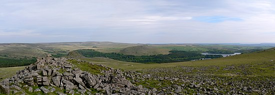 Rough landscape on Dartmoor. Looking towards Burrator reservoir & Plymouth.