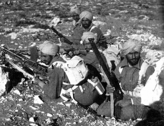 Indian Army troops in action during Operation Crusader in Western Desert Campaign in North Africa in November/December 1941.
