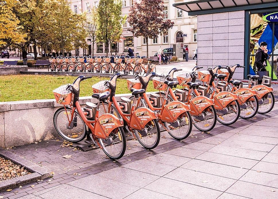 Orange bikes in Vilnius, Lithuania 2