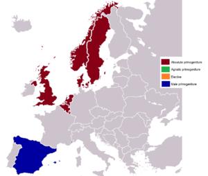 Primogeniture - Image: Order of succession (Primogeniture) in European monarchies