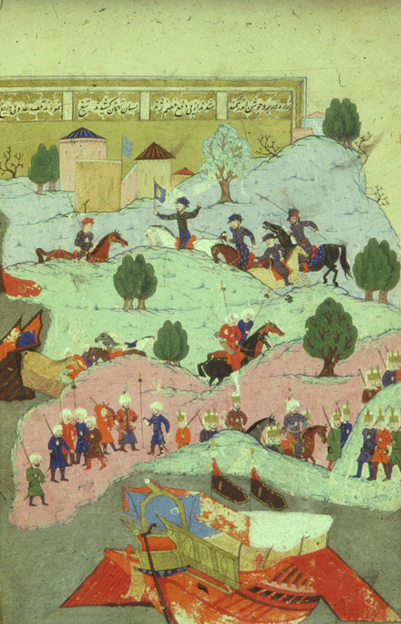 A miniature painting depicting the landing of Ottoman soldiers at Limassol Castle during the Ottoman conquest of Cyprus (1570–71)