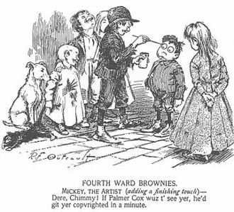 The Yellow Kid - Richard F Outcault's last Hogan's Alley cartoon for Truth magazine, Fourth Ward Brownies, was published on 9 February 1895 and reprinted in the New York World newspaper on 17 February 1895, beginning one of the first comic strips in an American newspaper. The character later known as the Yellow Kid had minor supporting roles in the strip's early panels. This one refers to The Brownies characters popularized in books and magazines by artist Palmer Cox.