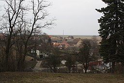 Overview of Střítež, taken from Saint Mark church in Střítež, Třebíč District.jpg