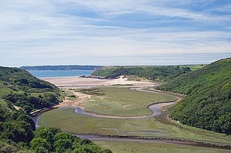 Oxbow lake - Early stages of formation of coastal plain oxbow lake in the Gower Peninsula of southwest Wales