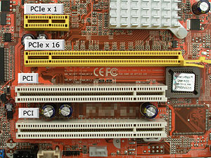 Conventional PCI - A motherboard with two 32-bit PCI slots and two sizes of PCI Express slots