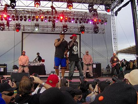 Public Enemy at Vegoose in 2007. From left: DJ Lord, Chuck D, and Flavor Flav. PE at Vegoose 2007.jpg