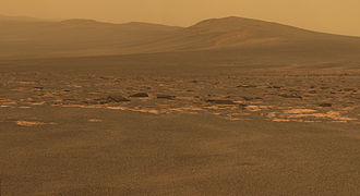 """Endeavour (crater) - Western rim by """"Oppy"""" (MER-B)"""