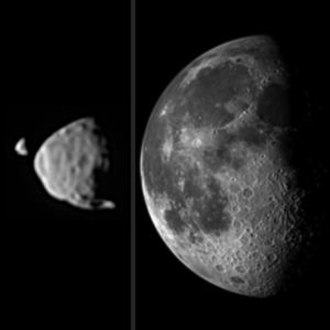 Phobos (moon) - The relative sizes of Deimos and Phobos as might be seen from the surface of Mars, compared to the relative size in the sky of the Moon as seen from Earth