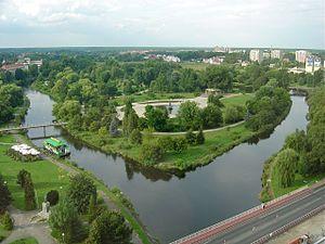 Fluss Küddow (Gwda) in der Innenstadt