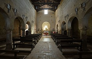 Pre-Romanesque art and architecture - The interior of the Church of São Pedro da Lourosa (Lourosa, Portugal).