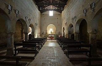 Pre-Romanesque art and architecture - The interior of the Church of São Pedro da Lourosa (Lourosa, Portugal).