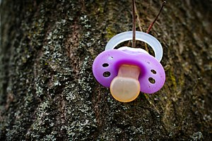 Somebody lost a pacifier and somebody else put...