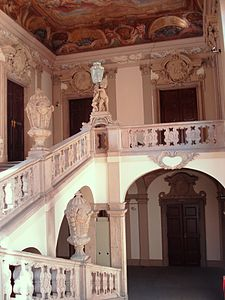 Staircase of the Clam-Gallas Palace in Prague by J. B. Fischer von Erlach, 1714–1718.