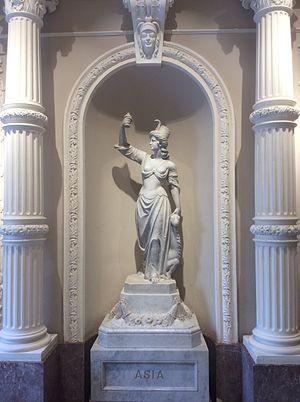 Asia - Statue representing Asia at Palazzo Ferreria, in Valletta, Malta