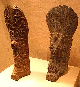 Classic Veracruz culture - Two palmas, characteristic of Classic Veracruz culture. Height: 18 in. (45 cm).