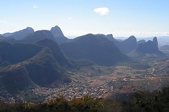 Pancas - View of Pancas from the paragliding ramp situated above the town The distinctive Pedra Camelo (Camel rock) can be seen at the far right of the photo