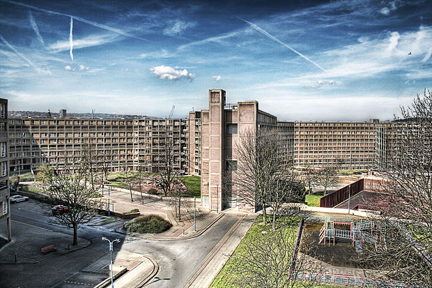Park Hill, half-abandoned council housing estate, Sheffield, England