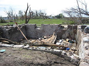 Tornado outbreak sequence of May 22–31, 2008 - House that was reduced to its basement in Parkersburg, Iowa