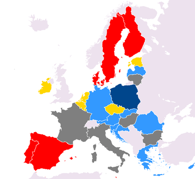 The states of the European Union by the European party affiliations of their leaders, as of 12 August 2019 Does not account for coalitions. Key to colours is as follows: European People's Party (BUL, CRO, CYP, GER, GRE, HUN, IRE, LAT, ROM) Party of European Socialists (DEN, FIN, MAL, POR, SPA, SVK, SWE) Alliance of Liberals and Democrats for Europe Party (BEL, CZE, EST, LUX, NED, SLO) Independent (AUT, FRA, ITA, LIT) Alliance of Conservatives and Reformists in Europe (POL, UK) Party affiliations in the European Council (18 December 2017).png