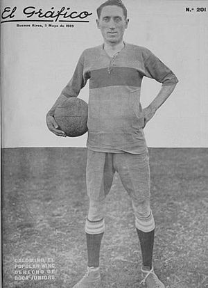Pedro Calomino - Calomino covered on El Gráfico magazine   while playing for Boca Juniors in 1923.