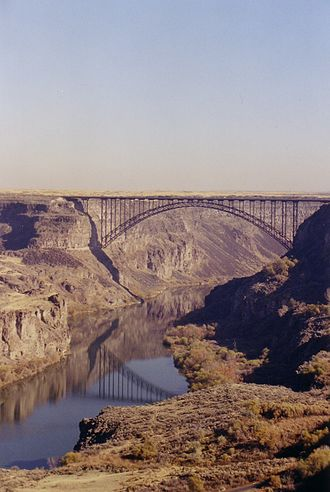 Twin Falls, Idaho - View of the Perrine Bridge from the south side of the canyon.