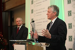 Peter Robinson (Northern Ireland politician) - Robinson speaking at Titanic Belfast as Martin McGuinness looks on, 2012