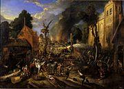 Peter Snayers - Spanischer Überfall auf ein flämisches Dorf