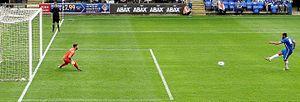 Michael Bostwick - Bostwick scores Peterborough United's third goal in their friendly with boyhood club West Ham United on 11 July 2015