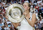 2011 Ladies singles champion Petra Kvitova  with the Rosewater Dish trophy
