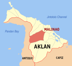 Map of Aklan with Malinao highlighted