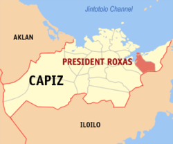 Map of Capiz with Pres. Roxas highlighted