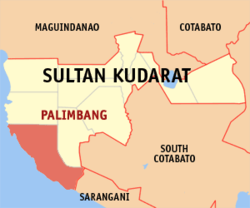 Map of Sultan Kudarat with Palimbang highlighted