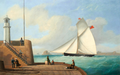 Philip John Ouless - The cutter Eclipse passing the old lighthouse as she enters St. Helier harbour, Jersey.png