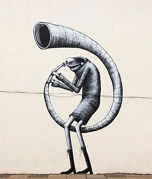 Dulwich Outdoor Gallery - Image: Phlegm's interpretation of a character in 'The Triumph of David' by Nicholas Poussin