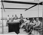 Photograph of President Truman and members of his party lounging in the sun on the after deck of his yacht, the...- NARA - 199033-Flipped horizontally.jpg