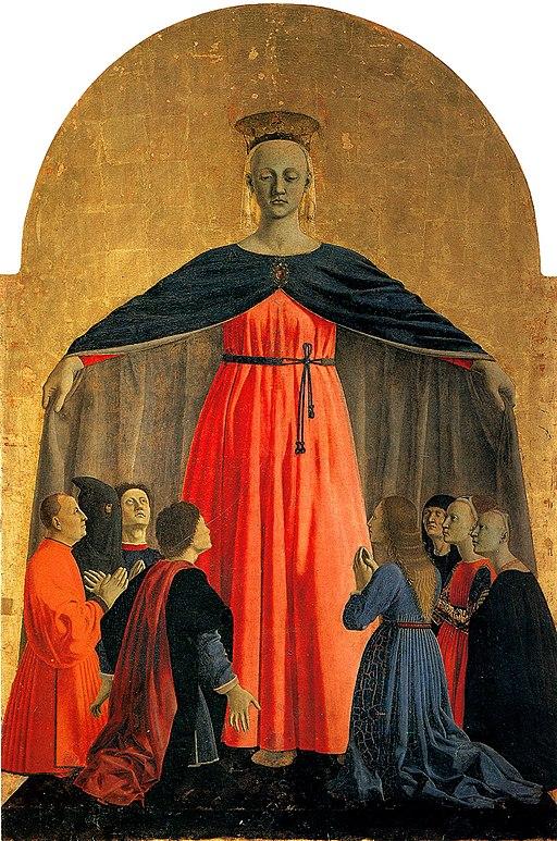 Piero della Francesca,Polittico della Misericordia,1444-1465, (particolare, LaMadonna della Misericordia), Museo Civico, Sansepolcro