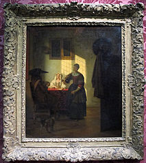 Couple playing cards and a serving woman